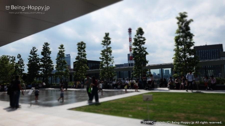 銀座シックス-屋上の芝と水場