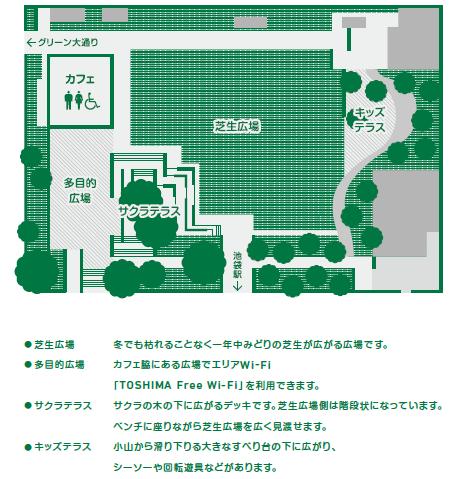 南池袋公園の園内マップ