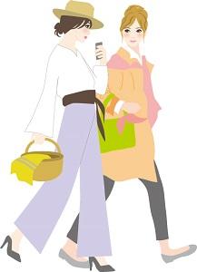 旅行する2人の女性のイメージイラスト