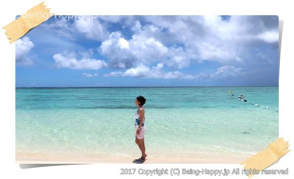 サイパンの真っ青なビーチと茶子の思い出写真