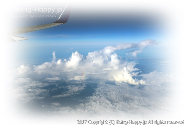 飛行機の中からみた空の思い出写真