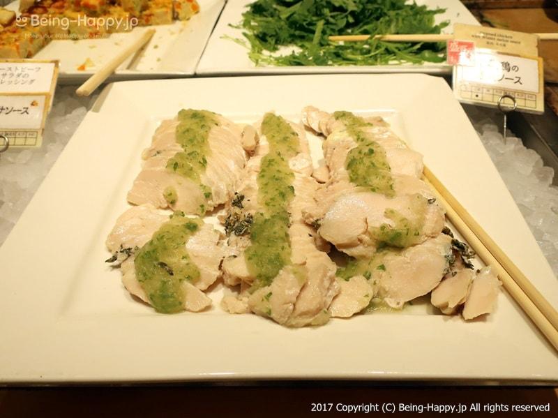 自然食ビュッフェレストラン はーべすと ービュッフェーチキンの胡瓜ソースがけ