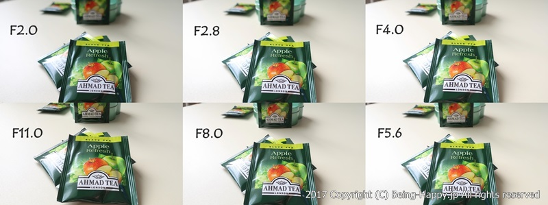 絞り値(F値)ごとのボケ感の違いを表した写真