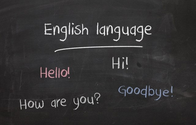 英語が書いてある黒板