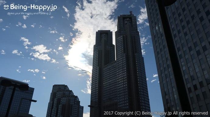 シズラー新宿三井ビル店のエントランスからみた都庁