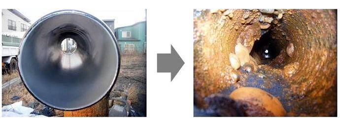 苫小牧市の示す水道管の老朽化