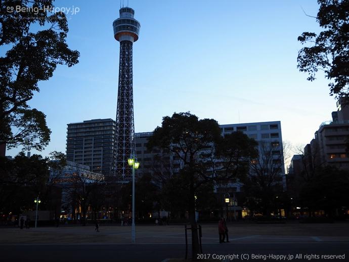 山下公園から見た横浜マリンタワー