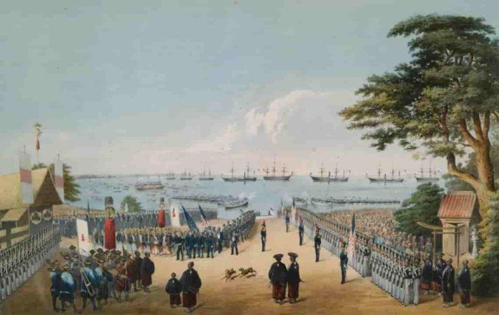 嘉永7年(1854年)横浜への黒船来航 ペリーに随行した画家ヴィルヘルム・ハイネによるリトグラフ