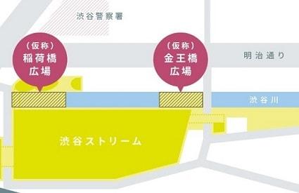 渋谷川沿いの2つの広場マップ