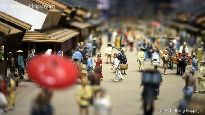 ミニチュア 賑わう江戸の街