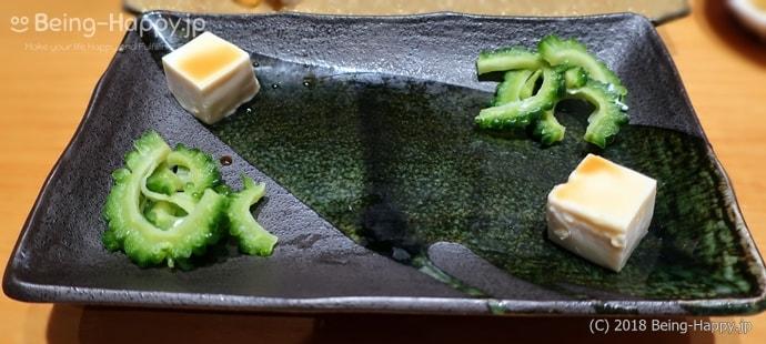 SUSHI TOKYO TEN、(スシトウキョウテン) ゴーヤの浅漬けと湯葉のお通し