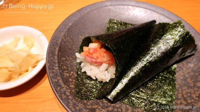SUSHI TOKYO TEN、(スシトウキョウテン) 玉ねぎを使ったネギトロ巻き