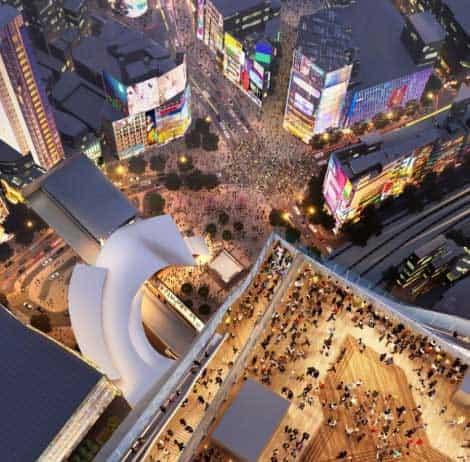 渋谷スクランブルスクエア 屋上から交差点を見下ろす