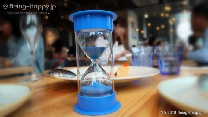 パエリアの炊きあがりを知らせてくれる砂時計