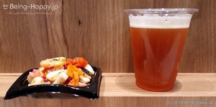 シーフードとドライトマトのマリネと、スプリングバレーブルワリーの「496」(クラフトビール)