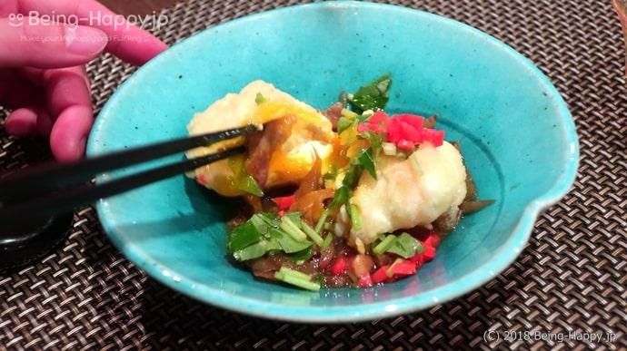 凛でいただいた京懐石の半熟卵の天ぷらと和牛&松茸のすき焼き