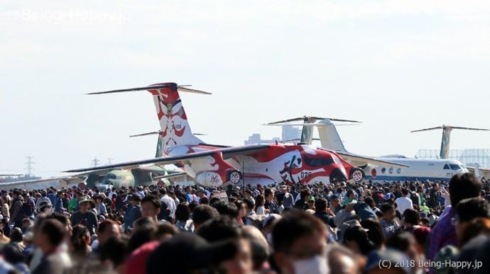 入間航空祭018の人込み(航空機にもなかなか近づけない)