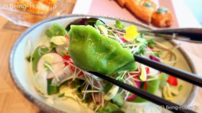 ダンプリングタイムの野菜の水餃子(西安水餃子8個の上に野菜がのっています)900円