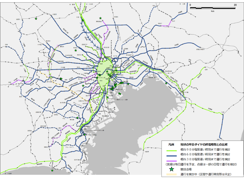 出典:tokyo2020.org 深夜時間帯(通常時の終電終了後)の列車運行を予定している路線(クリックで拡大)