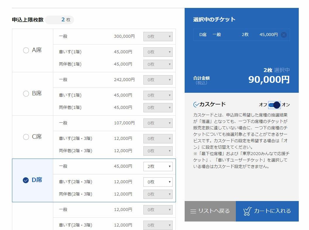 東京2020公式チケット販売サイト カスケード